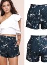 Fashion  Floral Print High Waist Side Pockets Zipper Slim Women's Shorts