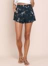 Moda de impresión floral de alta cintura bolsillos laterales cremallera Slim mujeres pantalones cortos