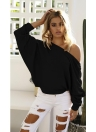 Knitted Off Shoulder Pullover Drawstring Long Sleeve Casual Sweater