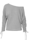 Tricô de ombro Pullover Drawstring manga comprida Casual Sweater