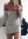 Mini-robe moulante sexy à épaules dénudées