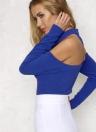 El hombro cortado atractivo ata para arriba el mono de las mujeres de la cremallera de las mangas largas