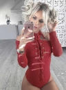 Sexy Cut Out Shoulder Lace Up Long Sleeves Zipper Women's Bodysuit