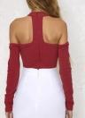 Sexy Ausschnitt-Schulter schnüren sich oben lange Hülsen-Reißverschluss-Frauen Bodysuit