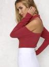 Сексуальный вырезать плечо зашнуровать длинный рукав молнии женщин Bodysuit