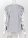 Women Floral Crochet Lace Splicing Dropped Shoulders Hollow Out Long Sleeve  T-shirt