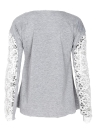 Mulheres Floral Crochet Lace Splicing Ombros caídos Hollow Out T-shirt de manga comprida