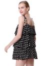 Moda Polka Dot Print Strap Frill Trim Open Back Camis Mini vestido feminino