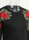 Fashion Floral Embroidery O-Neck Long Sleeve Casual Women's Pullover