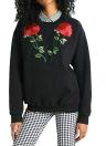 Mit Blumen besticktes Sweatshirt mit Rundhalsausschnitt