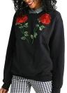 Floral Embroidered Crew Neck Sweatshirt