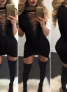 Mini Dress Hollow Out Plunge V Short Sleeves Long T-Shirt Plus Size Casual Dress