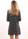 Casual Stripe Dress Vestido de manga comprida com gola alta