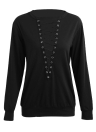 Blouse Tops Lace Up Bandage Long Sleeve V Neck Shirts Casual Solid Pullover