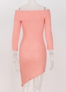 Off Shoulder Sleeves Longas em camadas assimétricas Party Bodycon Sweater Dress