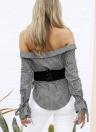 Sexy Plaid fuori dalla spalla Irregular Hem Long Sleeves Camicetta delle donne