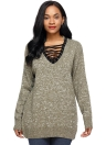 Knitted Lace Up Pullover V-Neck Long Sleeve Casual Loose Sweater