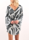 Geometrical Print V Neck Long Sleeve Drawstring Casual Mini Robe Femme
