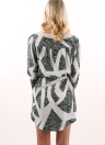 Geometrical Print V Neck Long Sleeve Drawstring Casual Women's Mini Dress
