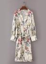Women Flower Print Sash Kimono Shirt Retro Bandage Cardigan Blouse Top