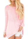 Knitted  Backless Twist  O-Neck Long Sleeve Casual Top Women's Sweater