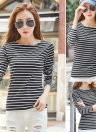 Plus Size Striped lange Ärmel O Neck Vintage Casual Damen T-Shirt