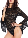 Sexy Floral Lace Jumpsuit Long Bell Sleeves Turtle Neck Oco Fora Backless Sheer Bodysuit Bodycon Rompers