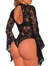 Sexy Floral Lace Jumpsuit Long Bell mangas Turtle cuello Ahuecar hacia fuera Body Sheets trasero Bodycon
