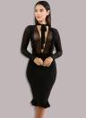 Sheer Mesh V Tied High Waist Ruffle Midi Nightclub Women's Bodycon Dress