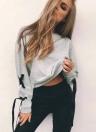 Sweatshirts Lace-Up Bandage O-cou à manches longues solide décontracté Tops