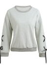 Sweatshirts Lace-Up Bandage O-Neck Long Sleeve Solid Casual Pullover Tops