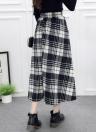Falda a cuadros de mujer Falda a media pierna de lana con cintura elástica elegante Faldas a media pierna
