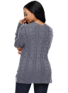V Neck Cable Knit Drop Shoulder Tunic Sweater