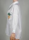 Women Pineapple Print Shirt Pocket Long Sleeve Casual Loose Blouse