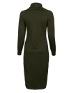 Femmes à capuche Robe col haut manches longues Solid Warm Slim Bodycon Midi Dress