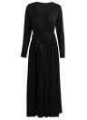 Sexy Women Maxi Dress Plunging V Neck High Split Long Sleeve Bandage Solid Slim Elegant Long Dress