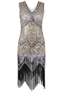 Fashion Women Sequined Beading Tassel Dress One-Piece