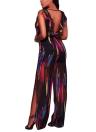 Sexy Ruffle Straps en mousseline de soie Jumpsuit graphique impression col en V haute fente Romper Combishort