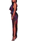 Sexy Ruffle Straps Chiffon Jumpsuit Graphic Print V-Neck High Slit Romper Playsuit