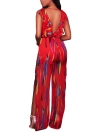 Sexy Ruffle Straps Chiffon Jumpsuit Graphic Print Escote en V High Slit Romper Playsuit