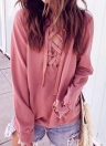 Bandage Lace Up Long Sleeve Blouse T-shirt Casual Loose Pullovers Tops
