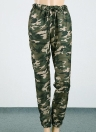 Мода женщин камуфляж печати упругой талии повседневные длинные брюки