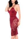 Women Lace Strappy Back Midi Dress Deep V Neck Bodysuit Lining Party Club Evening Bodycon Dress