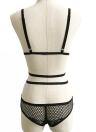 Mulheres Peluches Bodysuits Sheer Lace Floral mesh sem fio atadura com Tiras Erótico oco Out Underwear Black / White