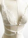 Женщины Дамское Bodysuits Sheer цветочные кружева сетки беспроводной бинты Strappy Эротический выдалбливают белье черный / белый