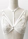 New Crochet Femmes Sexy unpadded dentelle Bralette élastiques Sangles Retour Crop massif Bustier Bra Camis Noir / Blanc
