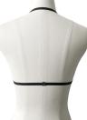 Женская вышивка Кружевной бюстгальтер Цветочная аппликация Регулируемая ремешка Эластичное беспроводное бежевое женское бельё Bralette Black / White