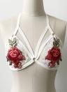 Сексуальная цветочная вышивка Bondage Body Cage Elastic Cupless Women's Bralette