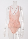Sexy One Piece Sheer Lace Strappy Strappy Straps ajusté Lingerie