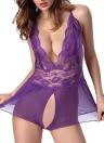 Sexy Women Lace Teddy Sheer Deep V Neck Mesh Sleepwear